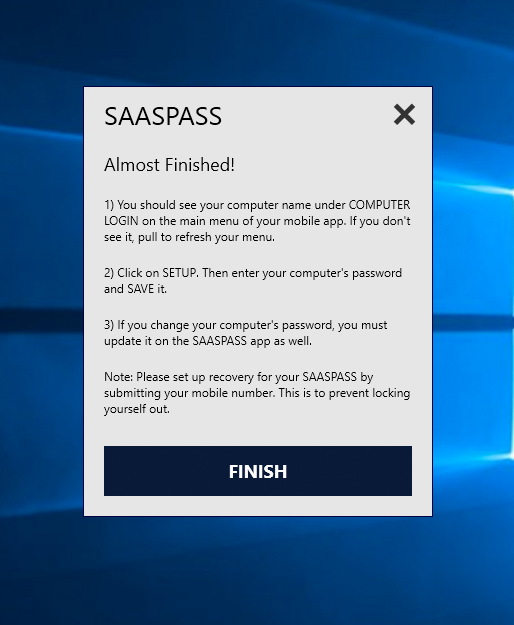 SAASPASS windows Computer Connector